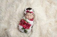 Wholesale Rose Bow Hair Band - Newborn Infant swaddle baby boys girls rose flowers printed blanket+bows hair bands 2pc sets babies towel swaddle blanket sleeping bag T0425