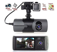 "Wholesale Gps Motion - Dual Camera Car DVR R300 with GPS and 3D G-Sensor 2.7"" TFT LCD X3000 Cam Video Camcorder Cycle Recording Digital Zoom 1PCS"