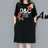 Wholesale Dresses Shift Cotton - Summer Dresses Female Plus size Women Floweral embroidery Dress cotton Casual loose short-sleeve Shift T-shirt Dress XL ~ 5XL