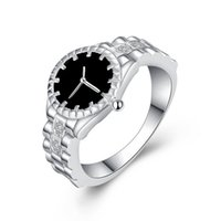Wholesale Jewelry Ring Watch - Silver Watch Rings Hot Sale Crystal Finger Rings For Women Girl Party Fashion Jewelry Wholesale Free Shipping 0454WH