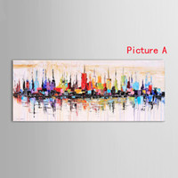 Wholesale oil paint knife resale online - New York City Picture Canvas handmade American Style Modern Abstract knife Oil Painting Home Office Wall Art