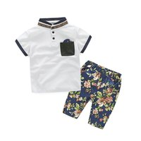 Wholesale Chinese Boys Suit - Chinese Style Outfits for Baby Boy Cotton Casual Short Sleeved Pocket Tshirt Flowers Tide Summer Suits