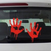 Wholesale Zombie Car Stickers - Zombie Bloody Hands Print Fun Vinyl Car Sticker Motorcycle Window Decal Accessories Red wholesale sticker motorcycle