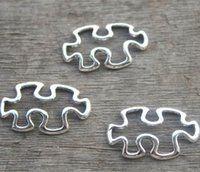 Wholesale Jigsaw Puzzle Wholesalers - 20pcs--Puzzle Piece Charms, Antique Tibetan Silver Tone JigSaw Puzzle Pendants Charms,Jewelry Making 30x17mm