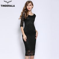 Wholesale Knee Length Bandage Dress Cheap - TINDERALA 2017 women woman o-neck three quarter pencil bodycon bandage elegant sexy party dresses cheap prom summer dress black purple