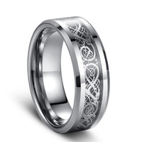 Wholesale Tungsten Couples Wedding Rings - Siver Dragon inlay Tungsten Carbide Ring Punk style Fashion Jewelry traditional culture Dragon Ring 8mm wide Hot sales for couples American