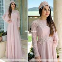 tüllkleid hijab großhandel-Rosa Langarm Damen Abendkleider mit Rundhalsausschnitt Applizierte A-Linie Tüll Muslim Hijab Brautmutter Kleid Abendgarderobe Übergröße