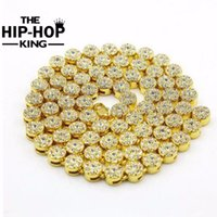 Wholesale Men Hip Hop Necklace - Wholesale- MEN'S 1 ROW Cluster Chain ICED OUT YELLOW GOLD Color HIP HOP BLING CZ MEN CHAIN NECKLACE JEWELRY