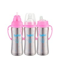 Wholesale High Quality Thermos - 1 Bottle + 3 Nipple Stainless Steel Insulation Bottle High Quality Copo Inox Wide Mouth Thermos Baby Bottle 240ML Handle Garrafa