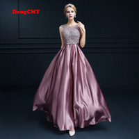 Wholesale taffeta robe - New 2018 double-shoulder robe de soiree long lace pink color plus size formal elegant fashion Party Prom vestido longo evening dress