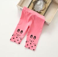 Wholesale Yellow Tights Pink Dots - Summer Baby Girls Leggings Polka Dot Rabbit Leggings Cotton Children's Leggings & Tights Melee for 2t-6t 4 colors 009#