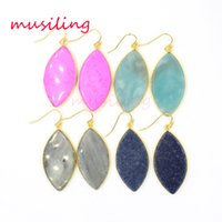 Wholesale Horse Dangling Charms - musiling Jewelry Natural Stone Crystal Earrings Drop Horse Eye Gold Plated Earrings Charms Geometric Earrings Fashion Jewelry For Women