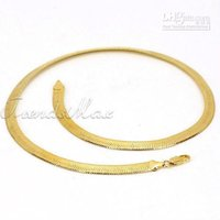 Wholesale Gold Filled Mens Herringbone Chain - Free Shipping New Arrival Mens Womens Yellow Gold Filled GF Herringbone Link Chain Necklace Yellow T