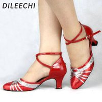 Wholesale TOP Sneakers DILEECHI Red Sequins Women s Latin Modern dance shoes female Ballroom dancing shoes for women