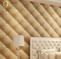 Wholesale Pvc Leather Rolls - Wholesale-luxurious faux leather soft bag 3d wall paper roll pvc tapete waterproof background wall wallpaper papel de parede R274