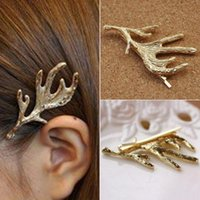 Wholesale Hair Pins Fashion Jewelry - Women Girl Antler Headpiece Hair Clip Bobby Pin Barrette Hair Accessories Hairpin Gold Alloy Head jewellery Barrettes Hair Fashion Jewelry