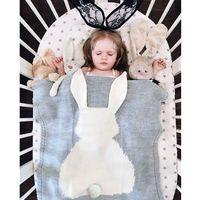 ingrosso coperte di animali di bambino 3d-Crochet Knitted Ins Coniglio Swaddle Coperta Asciugamano Da Bagno Neonato Ins 3D Animal Swaddle Coperte Funzioni Coperta Del Bambino