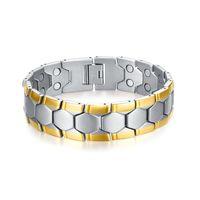 Wholesale Magnetic Bangle Male - Meaeguet Magnetic Health Bracelets &Bangles For Men Football Design Bracelet 21cm Healthy Energy Bracelets For Male BR-075