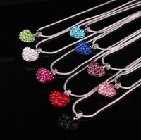 Wholesale Best Beads For Shamballa - Girlfriend best Gift Heart Crystal Shamballa Pendant Silver plated necklace Rhinestone Disco Bead Crystal Necklace For women jewelry