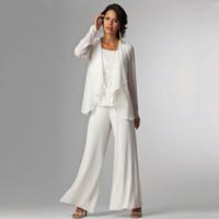 ingrosso giacca bianca del manicotto del merletto-Abito da sposo bianco con maniche lunghe in chiffon madreperlaceo con maniche lunghe, vestitino della mamma
