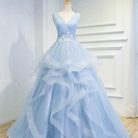 Wholesale High End Prom Gowns - SSYFashion New High-end Long Prom Dress The Bride Banquet Sweet Light Blue V-neck Lace Flower Party Gown Sexy Catwalk Dresses