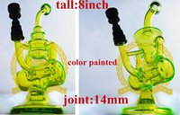 Wholesale Cheap Nail Paints - Corona Painted Titanium Nails Cheap Small Rig Two Function Clear Mini Thick Heavy Glass Inline Percolator Water Pipe Oil Rig Bong