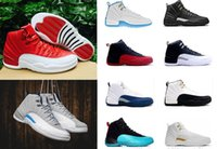 Wholesale Women Pink Leather Shoes - 2017 air retro 12 12s XII Basketball shoes men women ovo white TAXI Flu Game GS Barons Playoffs gym French blue Varsity red Sneakers