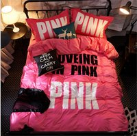 VS Love Pink Bedding 4 Set Velluto di Flannel Quilt Cover Lenzuolo PillowCase Rosa Lettera Lenzuola Spessa Articolo Set Inverno Caldo Set Hot