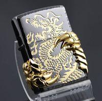 Wholesale lighters dragons - Metal cigarette kerosene windproof lighters Black ice gold gilded dragons