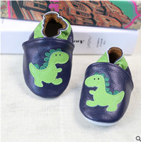 Wholesale Dinosaurs Shoes - Baby shoes fashion kids dinosaur applique toddler shoes baby genuine leather soft shoes newborn baby girls kids first walkers shoe T3475