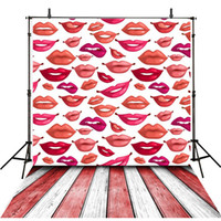 Lovely Lips Photography Backdrops Vinyle Blanc Red Painted Wooden Floor Enfants Photo Fond Baby Fotografie Achtergrond