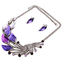 Wholesale vintage amethyst necklace resale online - Vintage Silver Plated Jewelry Sets Women Natrual Turquoise Necklace Bracelet Earrings Wedding Party Gift Christmas Promotion