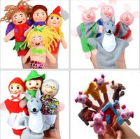 Wholesale Toy Santa Figures - New Cartoon Animal Finger Toys Santa Claus Puppet Pig Mermaid Riding Hood Plush Stuffed Doll Figures Educational Toys CCA7571 100pcs
