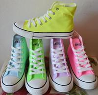 el boyalı spor ayakkabıları toptan satış-Sıcak Satış Kanvas Ayakkabılar Kadın Sneakers Şeker Renk Neon Renk Yüksek El-Boyalı Ayakkabı Rahat Tenis Yüksek Üst Sneakers Artı Boyutu Ücre ...