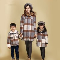 Familie Match Mantel Mutter Tochter Sohn Plaid Mit Kapuze Wollmäntel Kinder Winter Warm Outwear 2018 Familie Passenden Outfits Kleidung D158