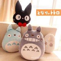 Wholesale Totoro Black Soft Toy - Wholesale- Super cute soft Hayao miyazaki totoro plush toys Black Cat 4 styles 1PCS gift for kids free shipping