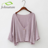 Wholesale Womens Sleeved Cardigans - Wholesale- Johnature 2016 New Autumn Womens One Button Jacket Cotton Linen Soft Bat Sleeve Cardigan Simple Short Style Loose Cloak Jacket