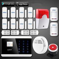Wholesale Diy Gsm Pstn Alarm - LS111- New KERUI Wireless Quad 4Band Touch Keypad TFT Dislay GSM PSTN House Security Anti-theft Voice Alarm IOS Android APP Control DIY