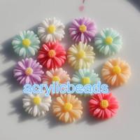 encantos plásticos lisos venda por atacado-100 pcs Charme 13 MM Acrílico Resina Girassóis Cabochão Flat Back Beads Grânulos de Plástico Floral Arte Artesanato Não Definir Buraco