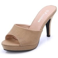 Wholesale Flock Shop - New Cheap Womens Sandals Heels Online Shopping Fashion Ladies High Heels Pumps Female Flock Discount Slippers Footwear Stiletto Outlet Shoes