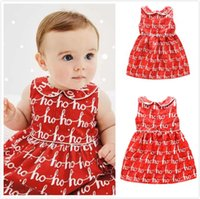 Wholesale American Girl Doll Patterns - New Summer Baby Red Doll Dress For Girls Princess Cotton Letter Pattern Sleeveless Doll Collar Pleated Dress With Button Vest Dress For 0-3T