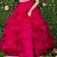 Wholesale Female Melons - 2017 Eye-catching Fuchsia Tutu Long Women Skirts Fantasy Tiered Puffy Floor Length Female Skirts Custom Made Ball Gown Party Skirts