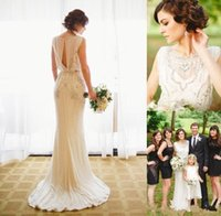Wholesale Hollow Back Wedding - 2017 Sexy Jenny Packham A Line Wedding Dresses Sheath Bridal Gowns Beading Crystal Beach Vestido De Novia Hollow Back Custom Wedding Gowns