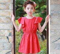 Wholesale Elegant Lolita - 2017 new styles Hot sell Super cute summer the Middle childhood Princess lotus leaf sleeve skirt girls Dress 100% Cotton elegant dress