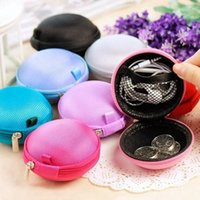 Wholesale Wholesale Wire Purses - Fashion Portable Mini Round Silicone Coin Purse Bag For Earphone SD Cards Cable Cord Wire Storage Key Wallet 8x5cm