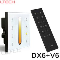 Wholesale dmx led controller - LTECH DX6 DMX512 4 Zones Wall-mounted Glass Touch Panel Dual Color wire or wireless DMX LED Controller for LED strip lamp bulb