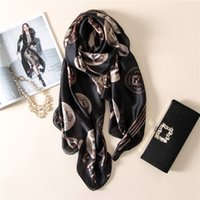 Wholesale Womens Spring Autumn Scarfs - Wholesale- Spring luxurious fashion high-grade elegant temperament printing silk womens scarf large Pentium letter autumn warm female sha