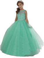цветок девушка платья мята оптовых-Мятно-зеленое платье для маленьких девочек Бисерные кристаллы с прозрачным вырезом на молнии назад Цветочные платья на день рождения для принцессы