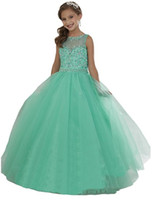 küçük kızlar için pantolon giymek toptan satış-Nane Yeşil Küçük kızın Pageant elbise Boncuklu Kristaller Sheer Boyun Fermuar Geri Çiçek Kız Doğum Günü Prenses Elbise Resmi Giyim