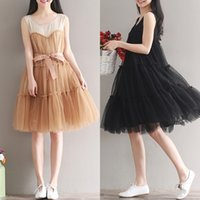 Wholesale Cute Plus Size Clothes - New Women Summer Dresses Chiffon Plus Size Woman Clothing Sleeveless Casual Mesh Dress O Neck Cute A-Line Tank Solid Black Dress